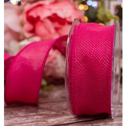 Woven Hessian Ribbon With Wired Edging 38mm x 10m Col: Fuchsia