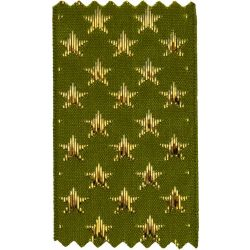 Cyprus Green With Gold Lame Stars Woven Christmas Ribbon By Berisfords Ribbons