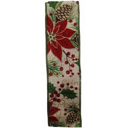 Wired Edged Glitter Poinsettia Christmas Ribbon 50mm x 10yrds