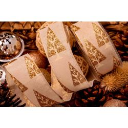 Glitter Christmas Tree Ribbon In Off White - 38mm x 10yrds