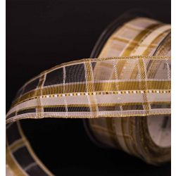 Cream and Gold Plaid Festive Ribbon 40mm x 25m