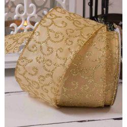 gold glitter filigree design on gold satin