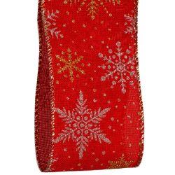 Gold and silver glitter snowflake christmas ribbon