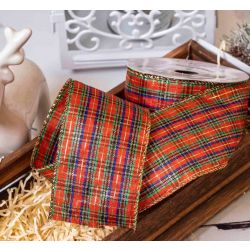 Large Check Traditional Tartan Style Ribbon With Gold Wired Edges 63mm x 10yrds