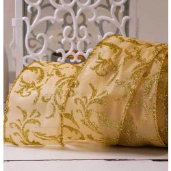 Light Weight satin ribbon with wired edge and gold glitter Damask design