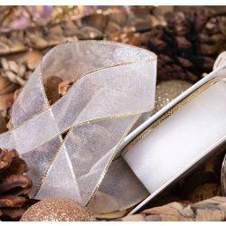 25mm x 25m White Sheer Ribbon With Gold Metallic Edging
