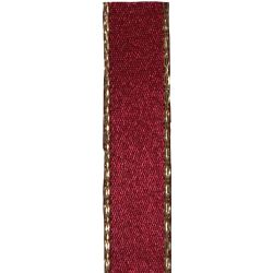 Metallic Gold Edged Burgundy Ribbon in 3mm, 7mm,15mm, 25mm widths