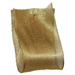 Wide Gold Metallic Look Sheer Ribbon 60mm x 25m