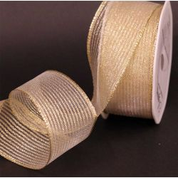 Gold Wired Metallic Mesh Ribbon 63mm x 10m