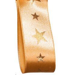 Gold Satin Ribbon With Gold Metallic Foil Stars