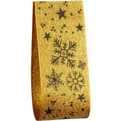 40mm Gold Lame with black snowflake and star print