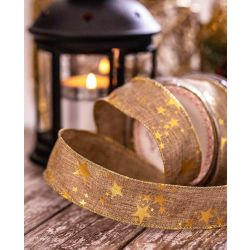38mm Faux Burlap Ribbon With Gold Star Print