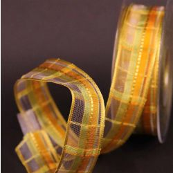 Citrus Plaid Sheer Ribbon 25mm x 25m