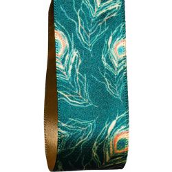 25mm green Peacock Feather Christmas Ribbon