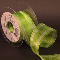 Apple Green and White Summer Check Sheer Ribbon 40mm x 20m