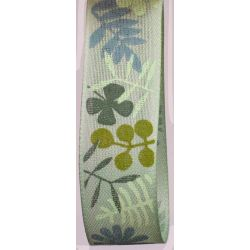 Leaf Print Ribbon 25mm x 18m Col Blue/Green