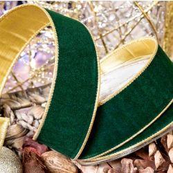 Green Velvet Ribbon With Gold Lame Reverse 63mm x 10m