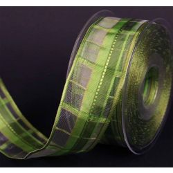 Green Mix  Plaid Festive Ribbon 40mm x 20m