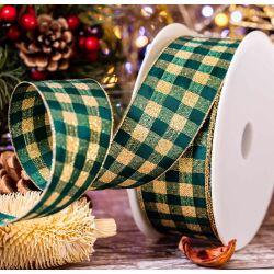 Christmas Ribbon In Green & Gold Check