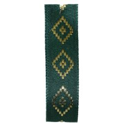 Diamond Taffeta Ribbon in Forest Green with Gold Diamond Pattern 15mm x 20m. Art 60182