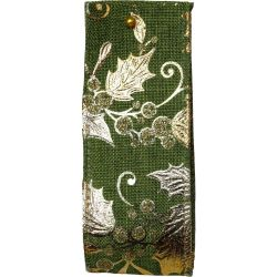 Gilded Mistletoe and Holly Moss Green Wired Edge Ribbon Article 644656