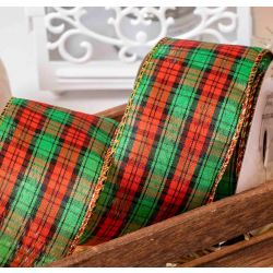 red green and black tartan style check ribbon in a 63mm width