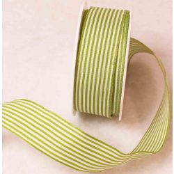 25mm x 4m Wired Edge Green & White Striped Ribbon - Faulty
