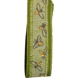 Green Bee Themed 25mm Wide Ribbon