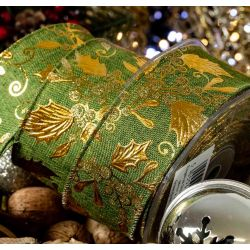 green burlap style ribbon with gold holly design