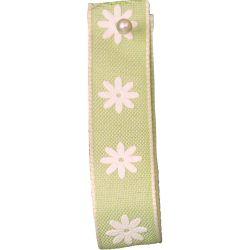 Green 15mm Daisy Print Ribbon