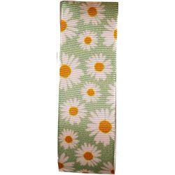 Green Daisy Print Taffeta Ribbon