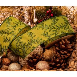 green taffeta ribbon with glitter leaf design