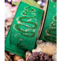 Green Ribbon with Gold Star Design and Glitter Swirl Tree 63mm x 10yrds