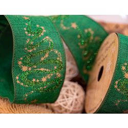 63mm green burlap ribbon with glitter Christmas tree design