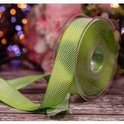 Meadow Green 25mm Herringbone Ribbon Article 1392