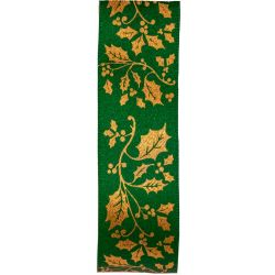 Green Satin Ribbon With Gold Holly Print