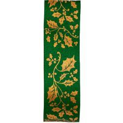 Green Satin Ribbon With Gold Holly Print