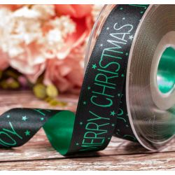 25mm Green and Black Merry Christmas Ribbon By Berisfords Ribbons