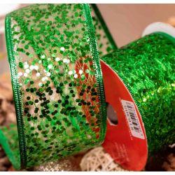 Green Glitter Mesh Wired Edged Ribbon 63mm x 10yrds