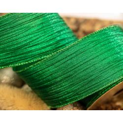 green crinkle ribbon 63mm