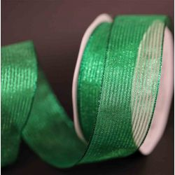 Green wired Metallic Mesh Ribbon 63mm x 10m