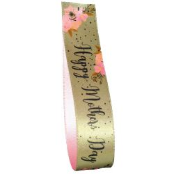 Green Mothers Day Ribbon 25mm