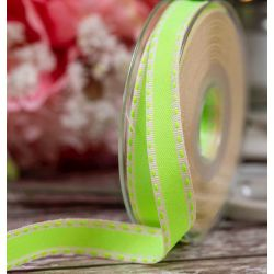 15mm x 15m Green Neon Stitch Ribbon