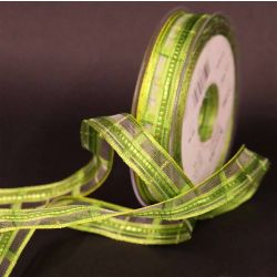 Mixed Green Plaid Sheer Ribbon 15mm x 25m