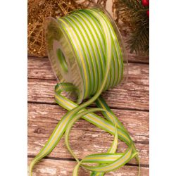 Green Yellow & Silver Striped Satin Ribbon 10mm x 100m