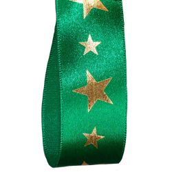 25mm Green Starlight Christmas Ribbon By Berisfords Ribbons
