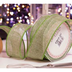 38mm green faux burlap ribbon with wired edge