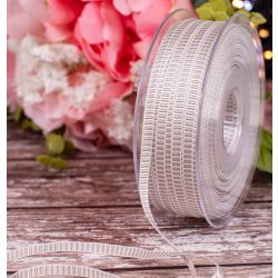 6mm Silver grey and White Grosgrain Ribbon x100m