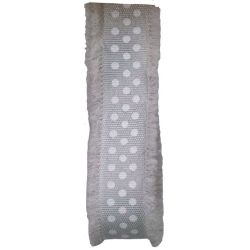 Frayed Edged Dot's Ribbon In Grey 18mm x 20m