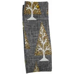 Glitter Christmas Tree Ribbon In Grey - 38mm x 10yrds